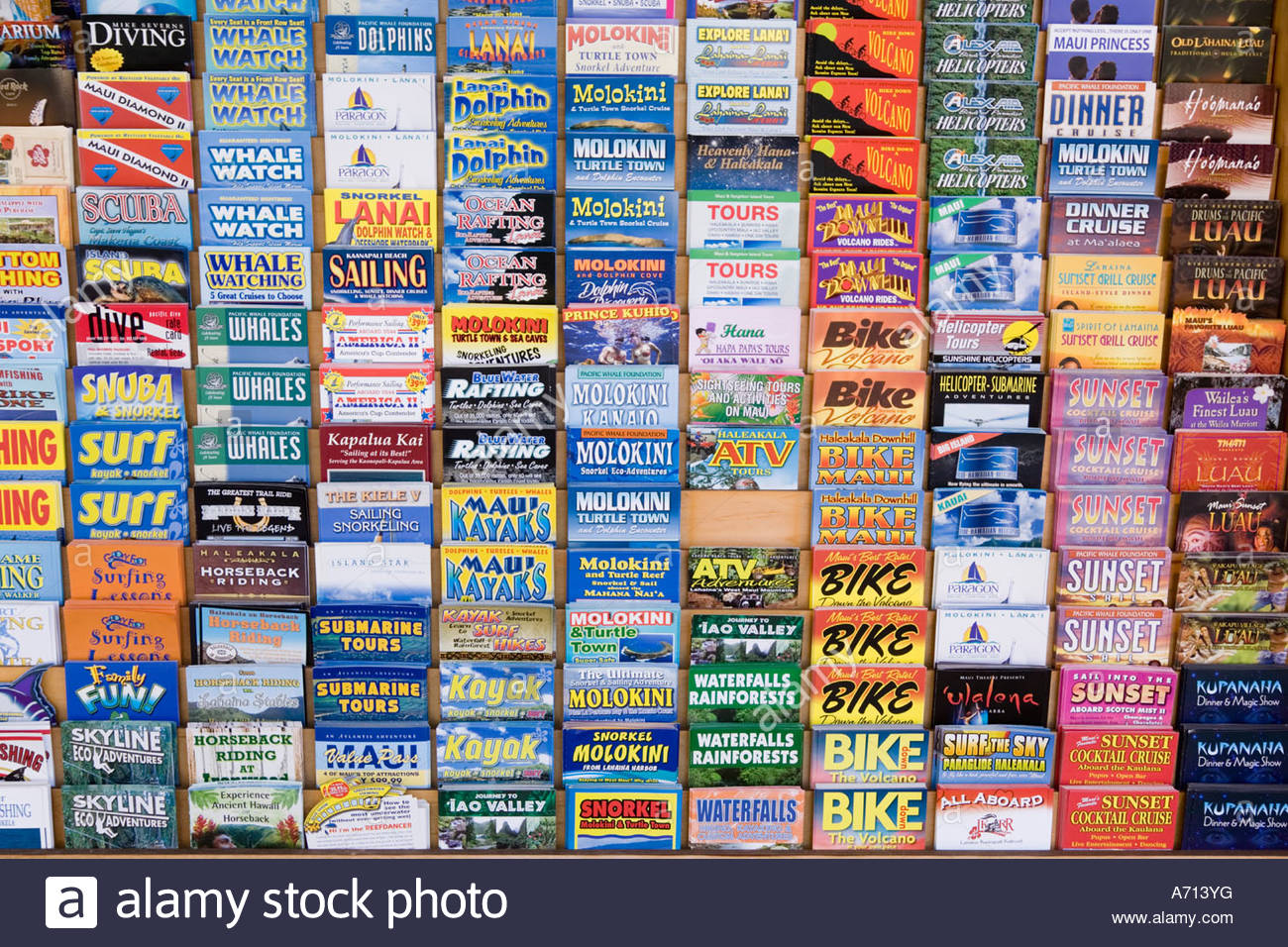 Tourist activities brochures in town of Lahaina on the island of Maui in the State of Hawaii USA - Stock Image