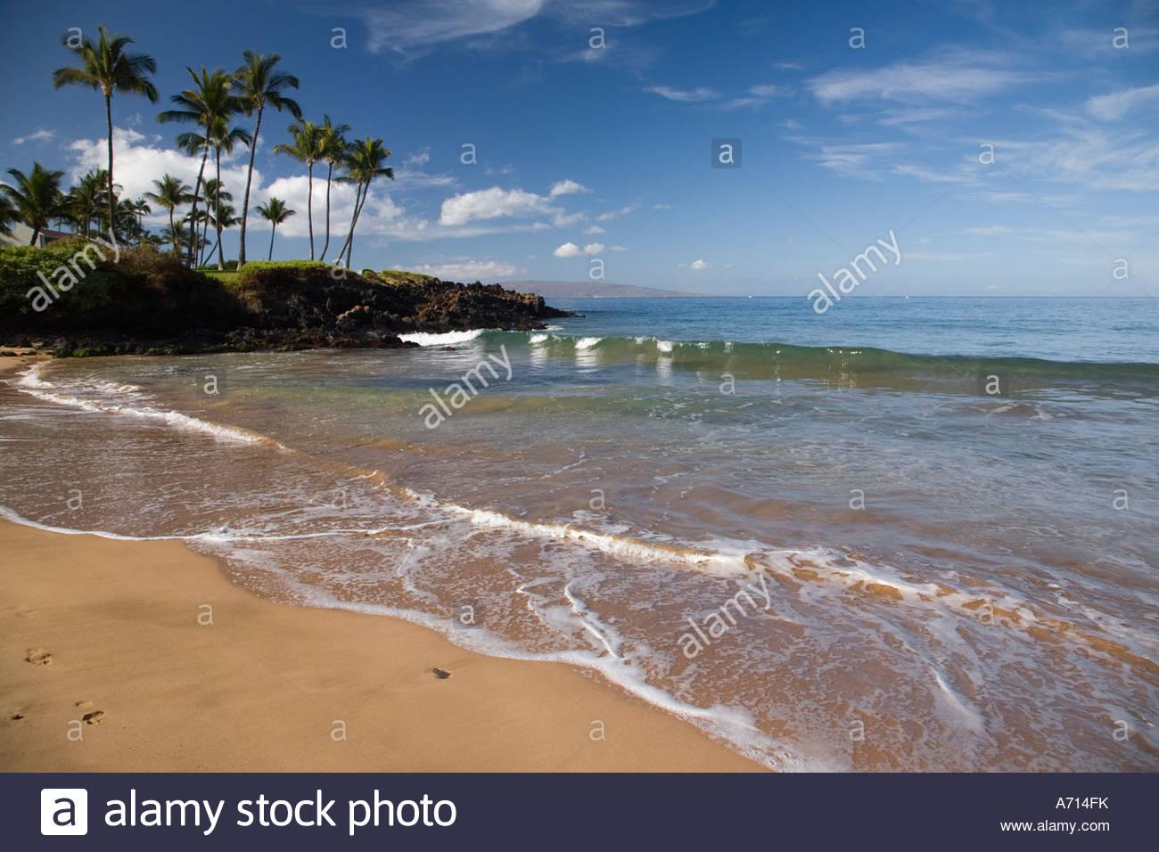 Ulua Beach at Wailea on the island of Maui in the State of Hawaii USA Stock Photo