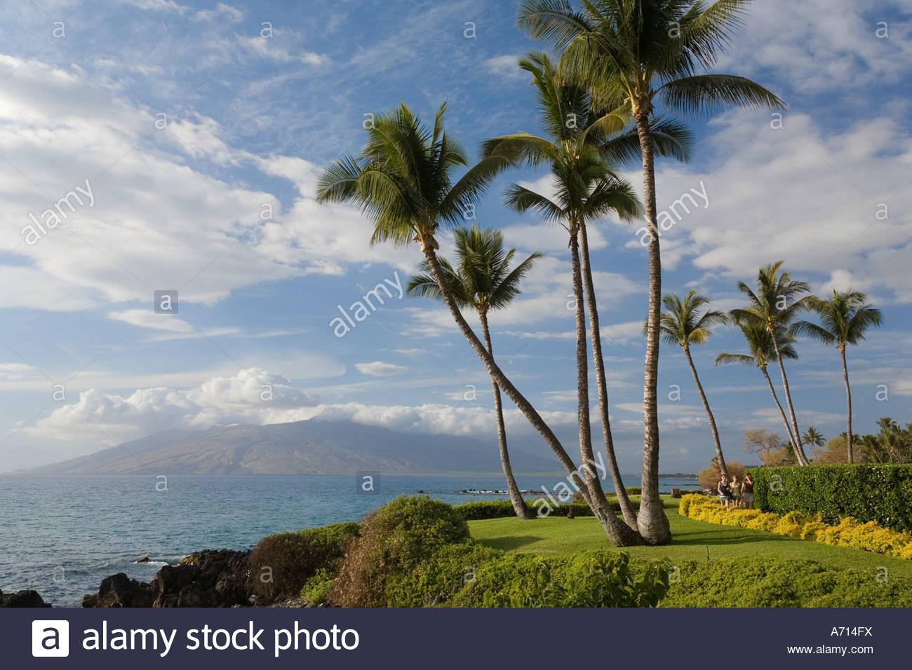Beachfront path at Wailea on the island of Maui in the State of Hawaii USA Stock Photo
