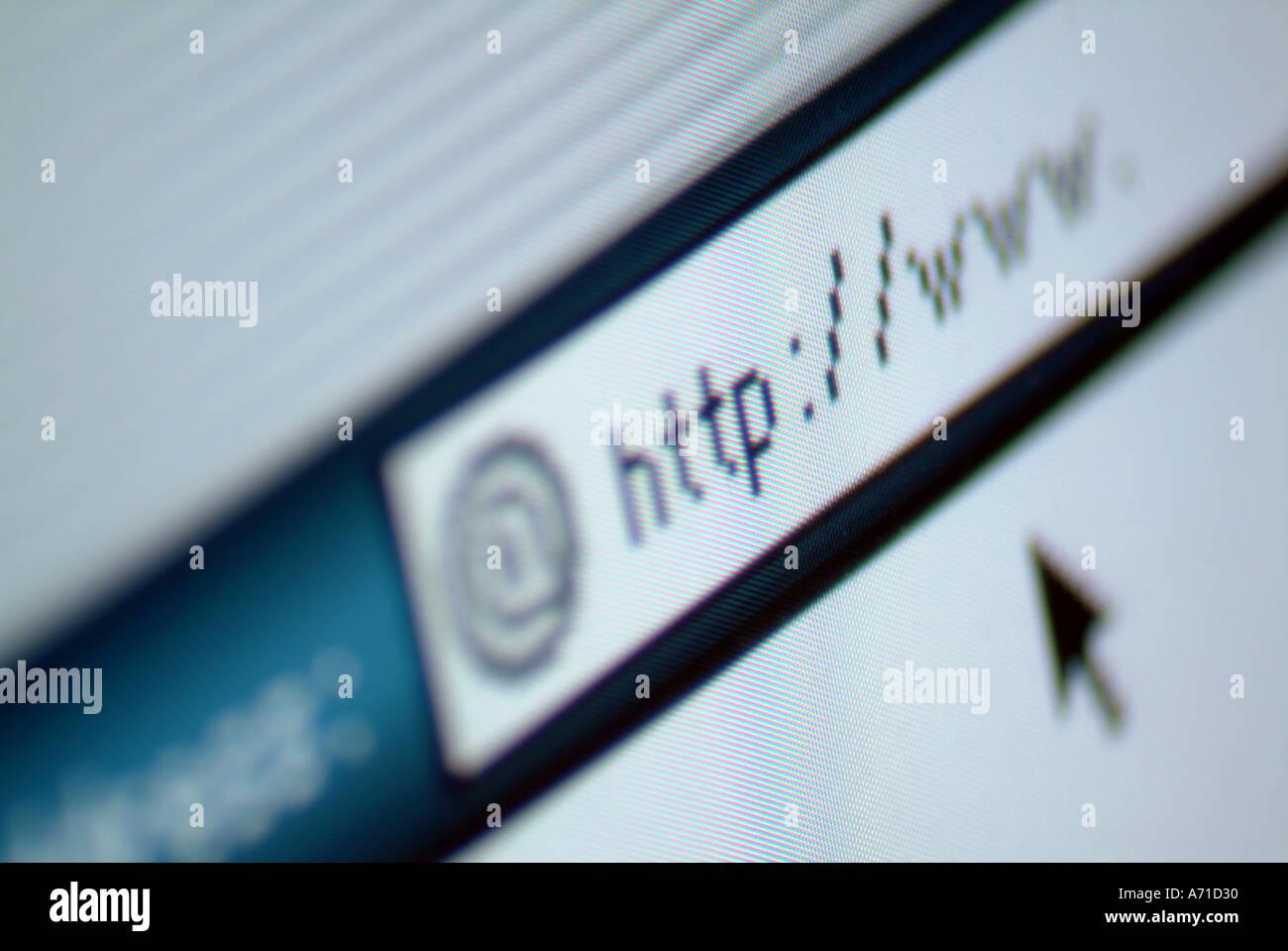 www written in address bar on a computer screen - Stock Image