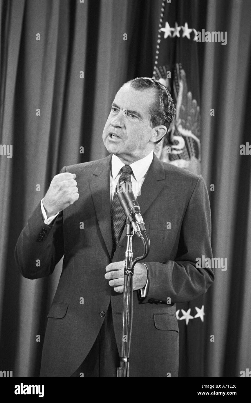President Richard M Nixon makes a point at one of his early press conferences after becoming President of USA - Stock Image