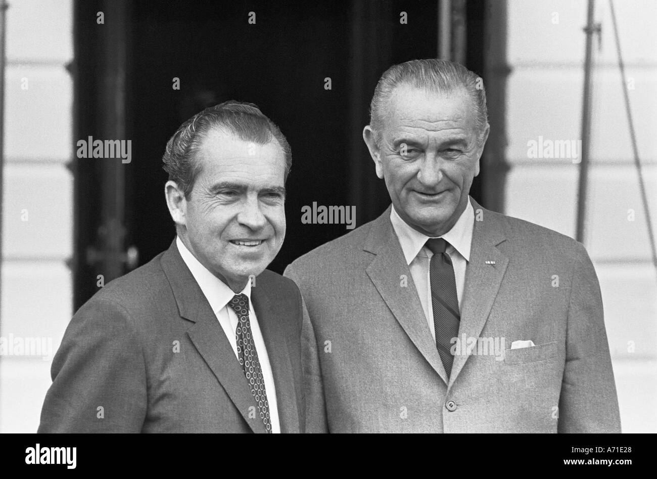 President Richard M Nixon with President Lyndon Baines Johnson at the South Portico of the White House  - Stock Image