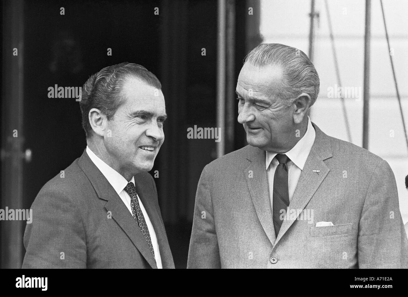 President Richard M Nixon and President Lyndon Baines Johnson at the South Portico of the White House - Stock Image