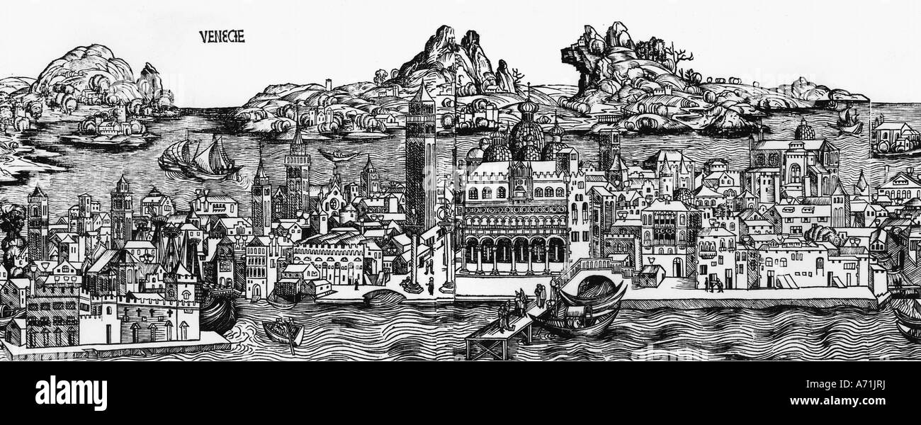 geography / travel, Italy, Venice, city views / cityscapes, woodcut by Michael Wohlgemut or Wilhelm Pleydenwurff, - Stock Image