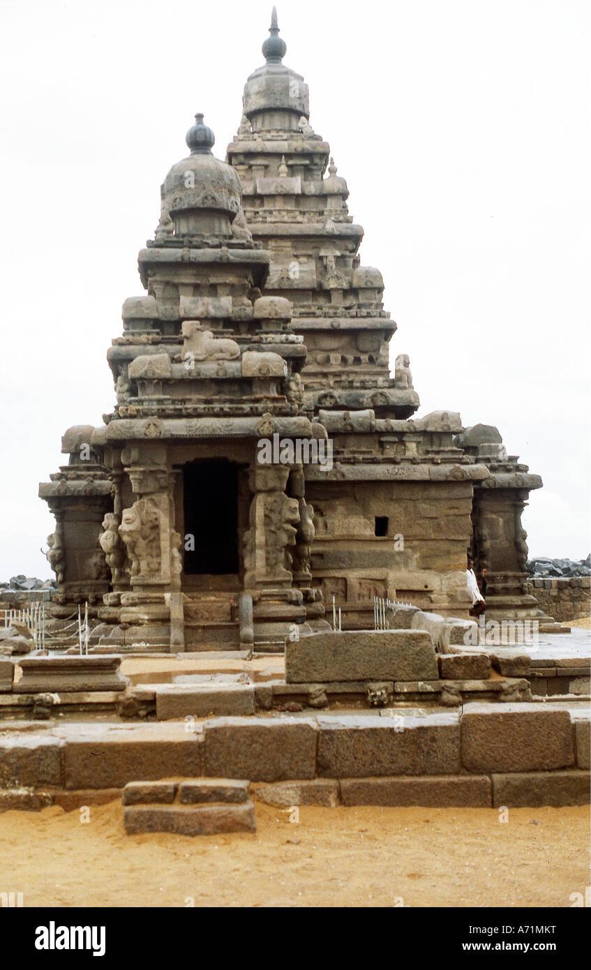 geography / travel, India, Mahabalipuram (Mamallapuram), Tamil Nadu, temple, built until 668 AD under Pallava dynasty, Stock Photo