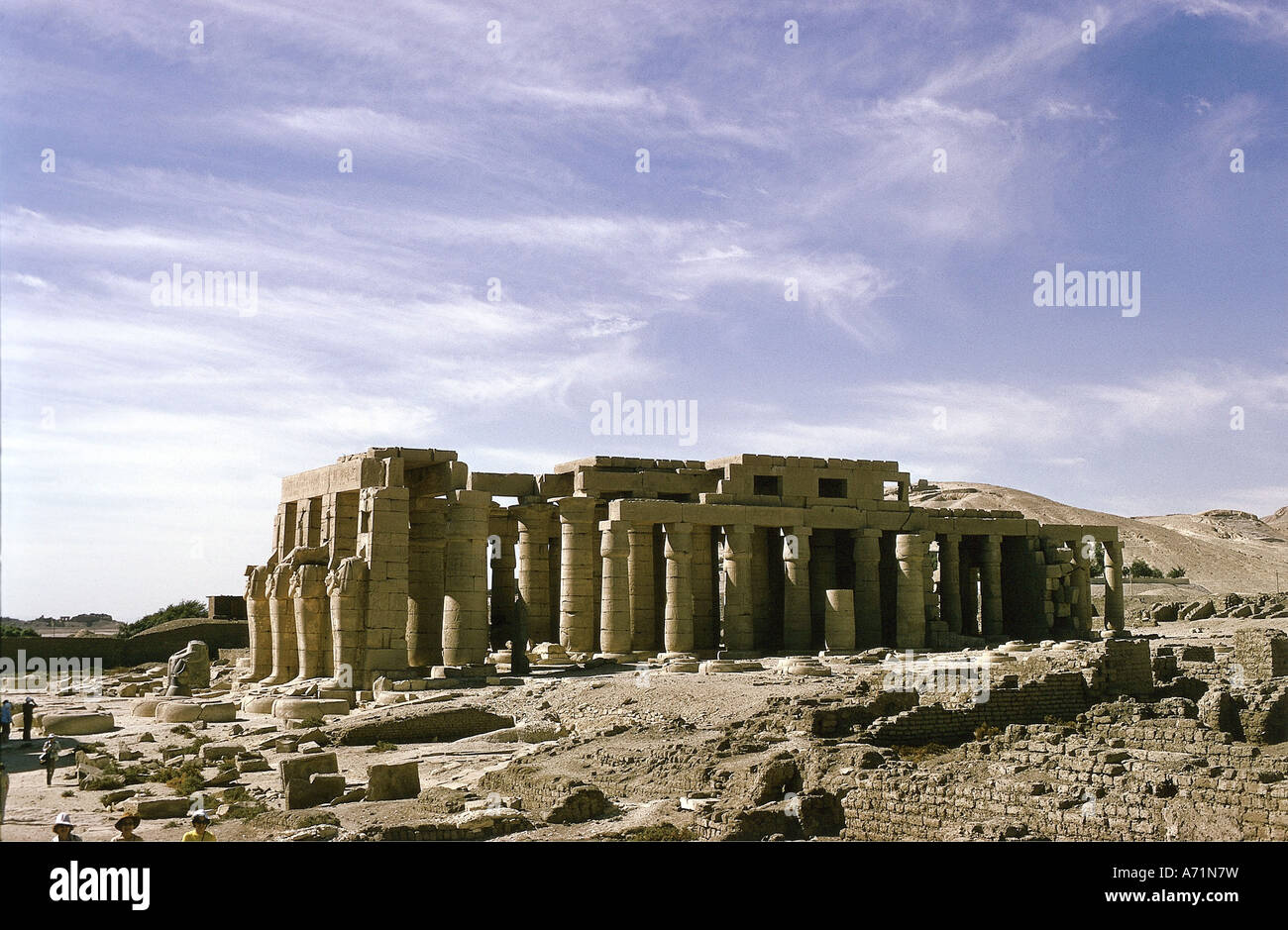 geography / travel, Egypt, Thebes (west), Ramesseum, temple of Amun, funerary temple of King Ramesses, Ramses II. - Stock Image