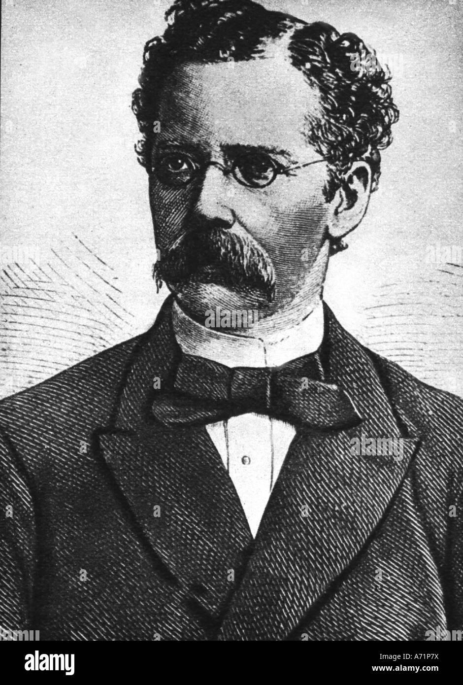 Lüderitz, Adolf, 16.7.1834 - 24.10.1886, German businessman, portrait, engraving late 19th century, Germany, - Stock Image