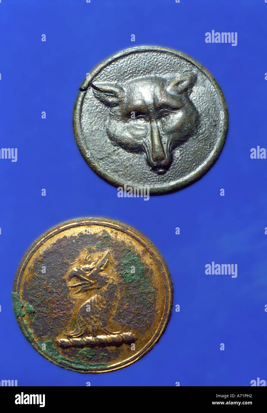 ANTIQUE Livery Buttons - Stock Image