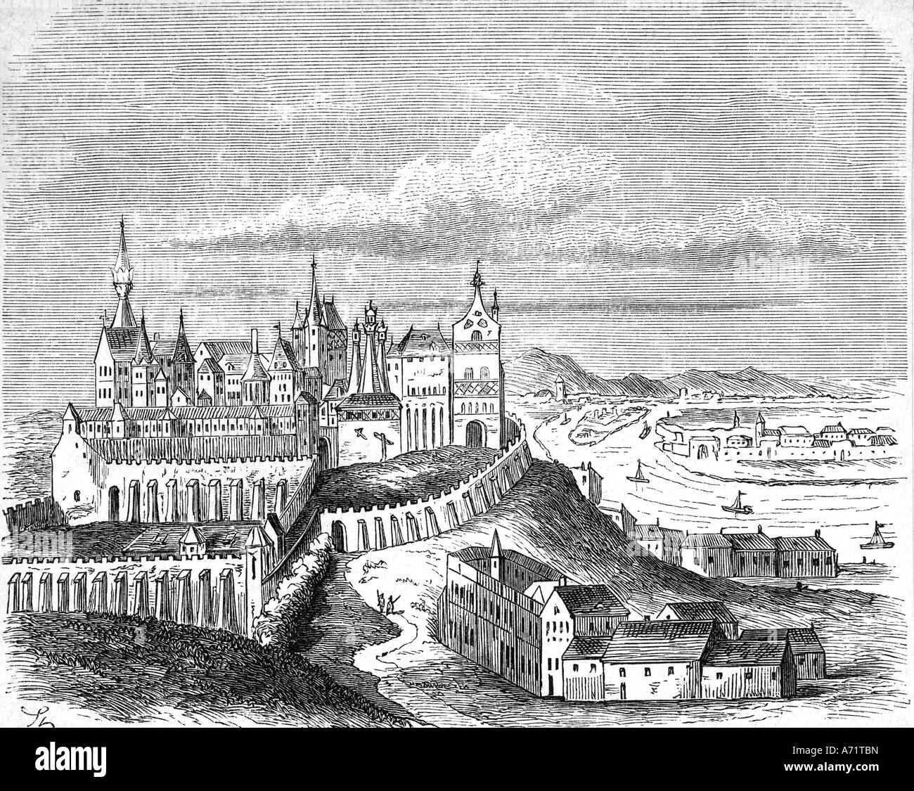 geography / travel, Hungary, Budapest, Buda, castle, late 16th century, exterior view, History painting, engraving - Stock Image