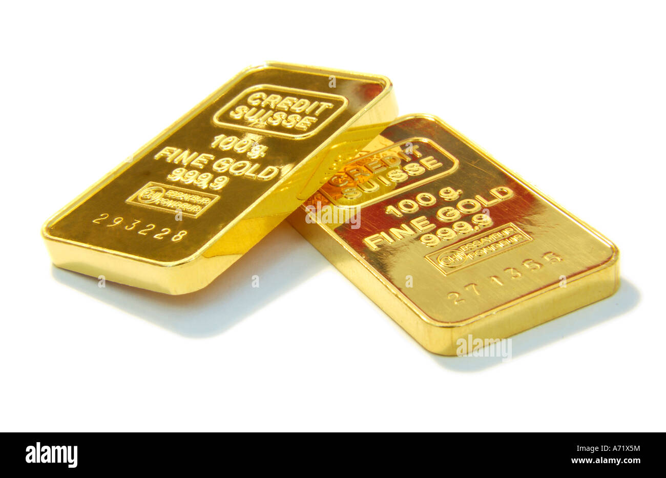 Close up of two 100 grams heavy solid gold bars from Swiss company Credit Suisse - Stock Image