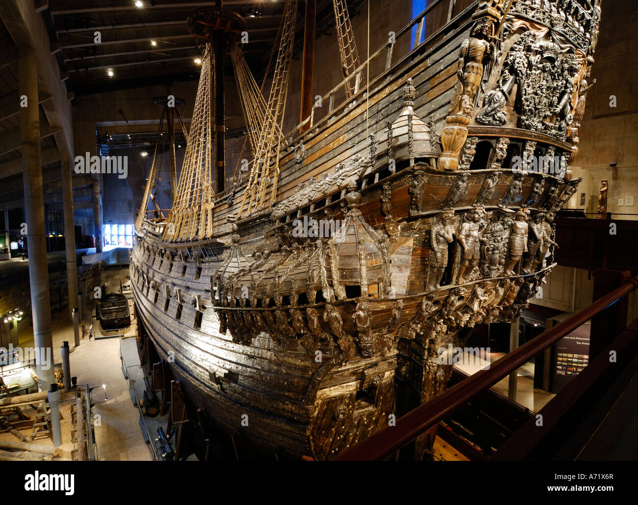 The well preserved 17th century battleship Vasa at the Vasa museum in Stockholm is one of Sweden's biggest tourist attractions Stock Photo
