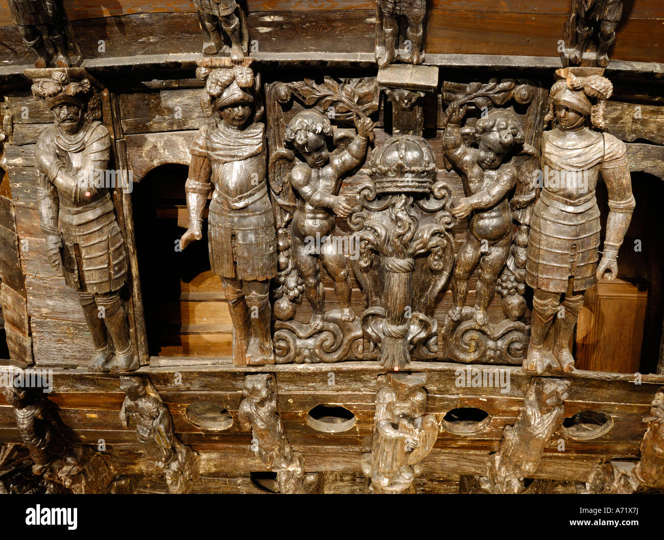 Wooden carvings at the stern of the 17th century battleship Vasa at the Vasa museum in Stockholm, Sweden Stock Photo
