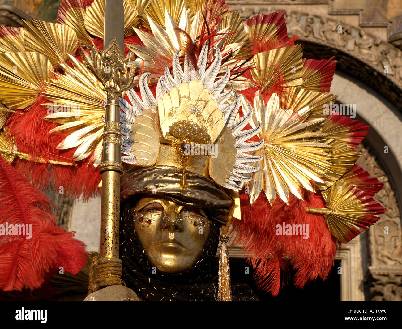 man dressed as Aztec warrior  at Venice carnival Stock Photo