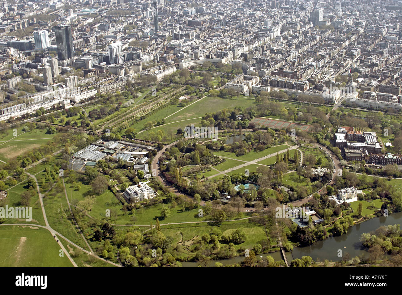 Aerial high level oblique view south east of Inner Circle and Regent s Park Regent s College Euston Camden and Westminster London NW1 England 2005 - Stock Image