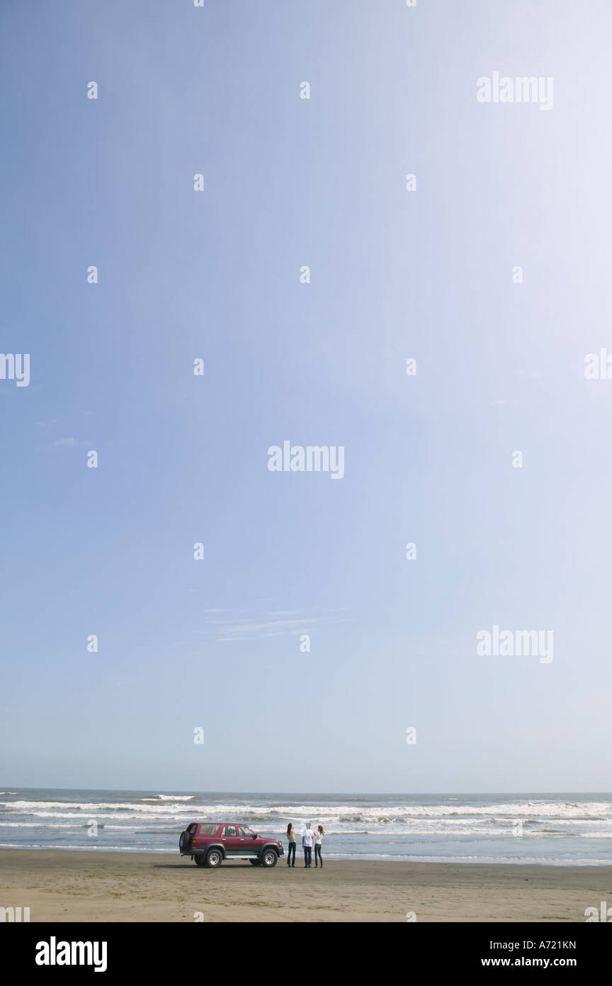 Car parked on beach - Stock Image