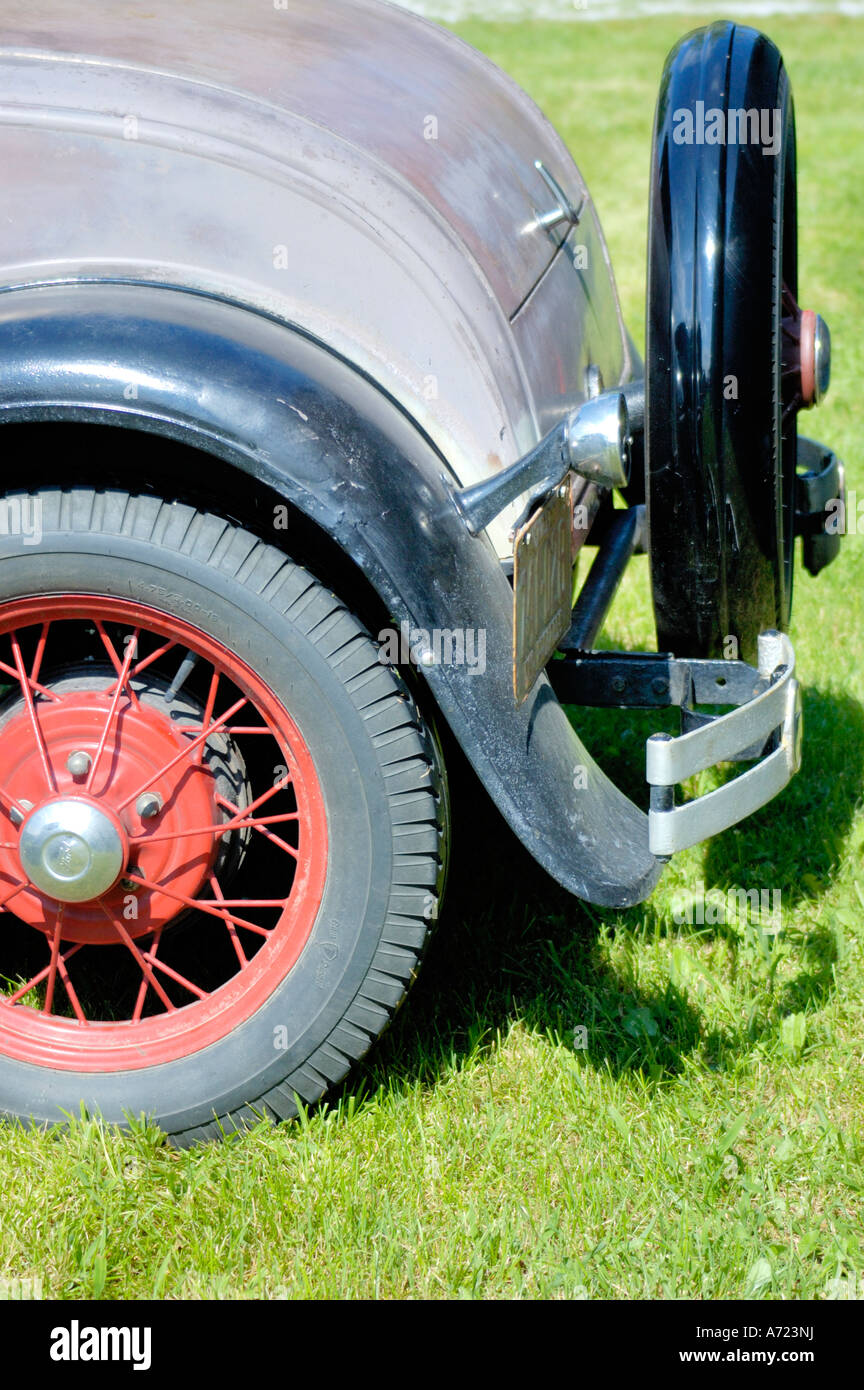 Classic Car Spare Tire On Stock Photos 1930 Chevy Sedan Mount Image The Back Of A Vintage Ford Model Automobile From 1930s That Has