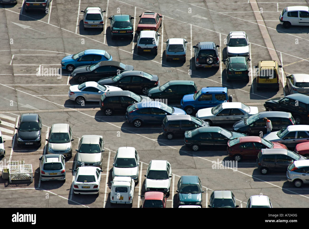 A pattern of parked cars in the port of Nice, France - Stock Image