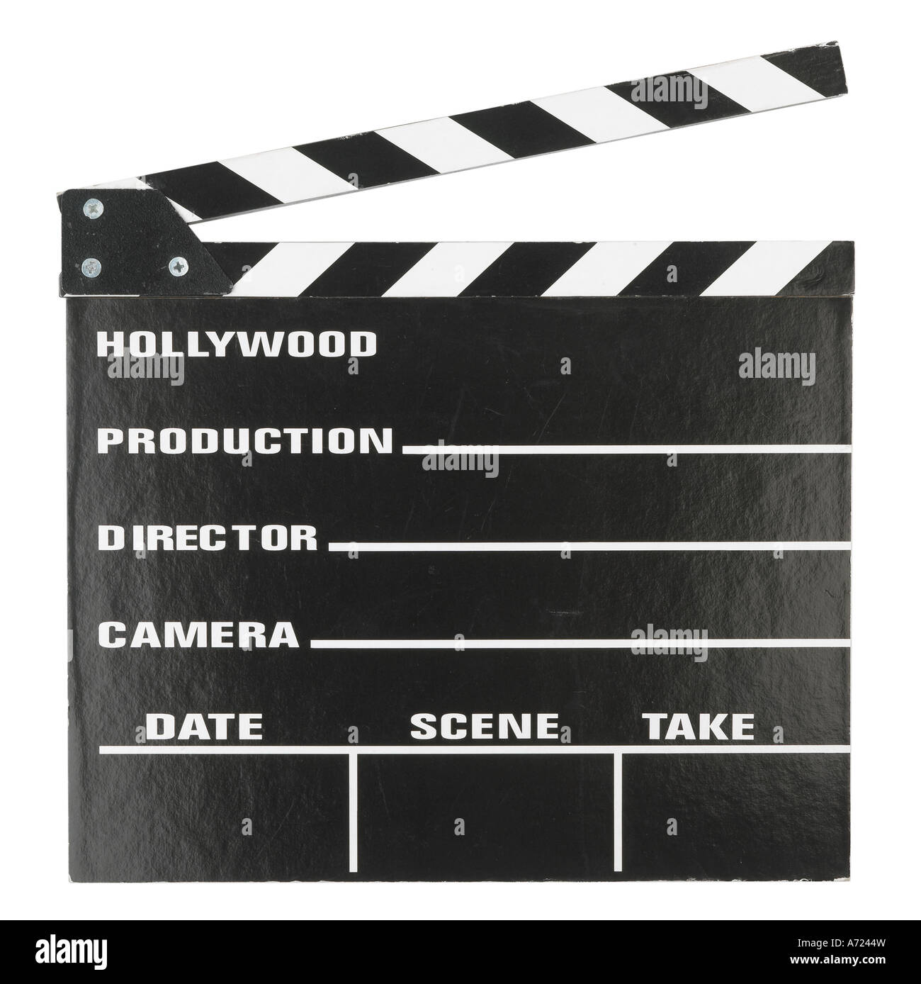 clapper board for film takes The Movies - Stock Image
