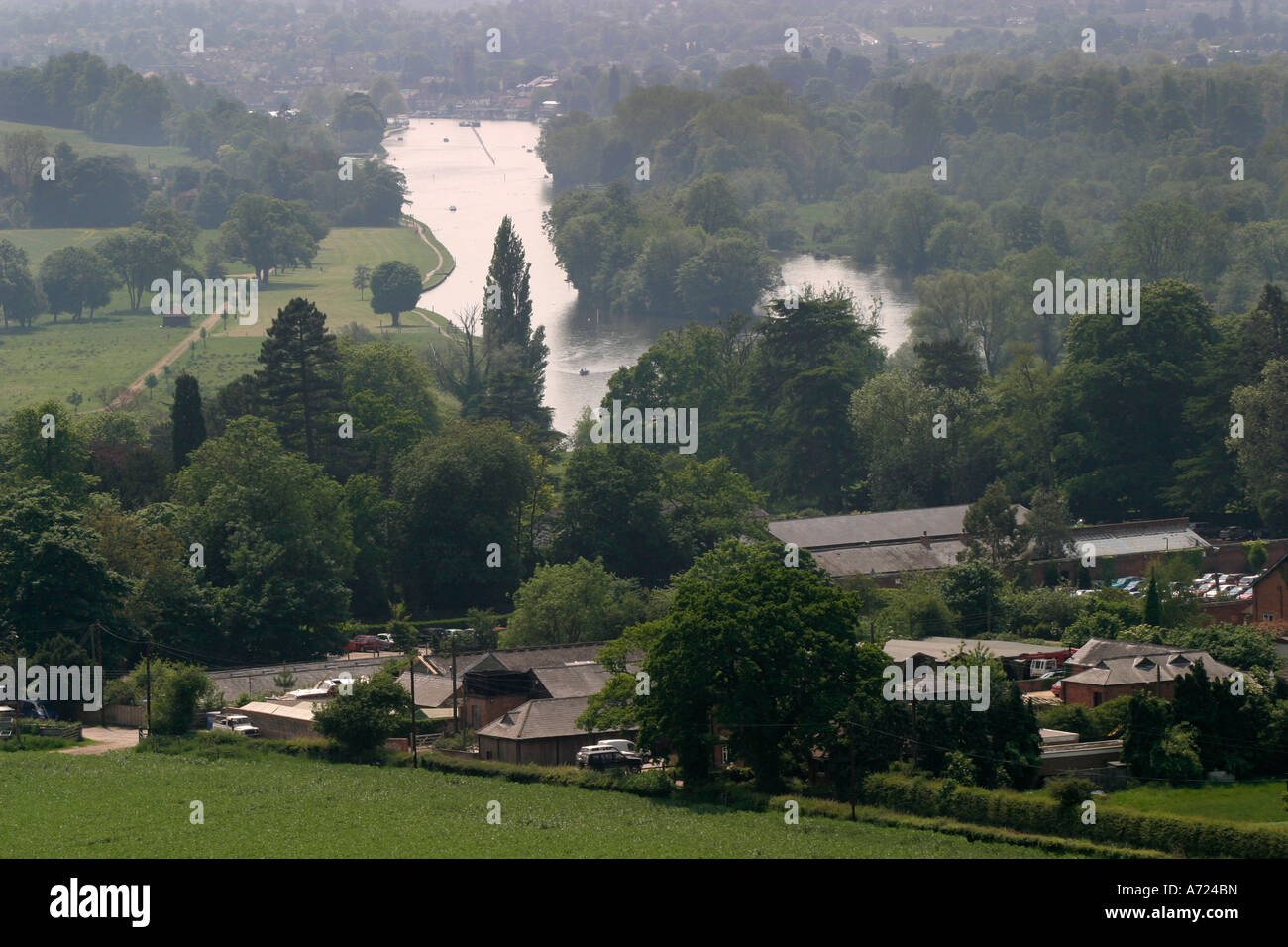 Landscape of the Hambleden Estate and the River Thames - Stock Image