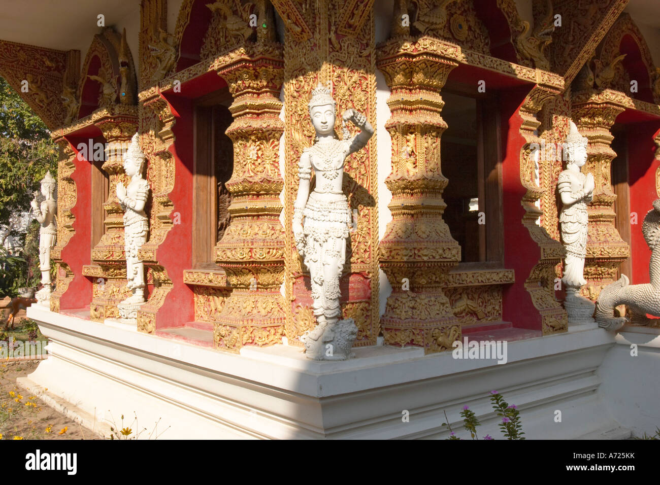 Richly decorated walls of Wat Bupparam. Chiang Mai, Thailand. Stock Photo