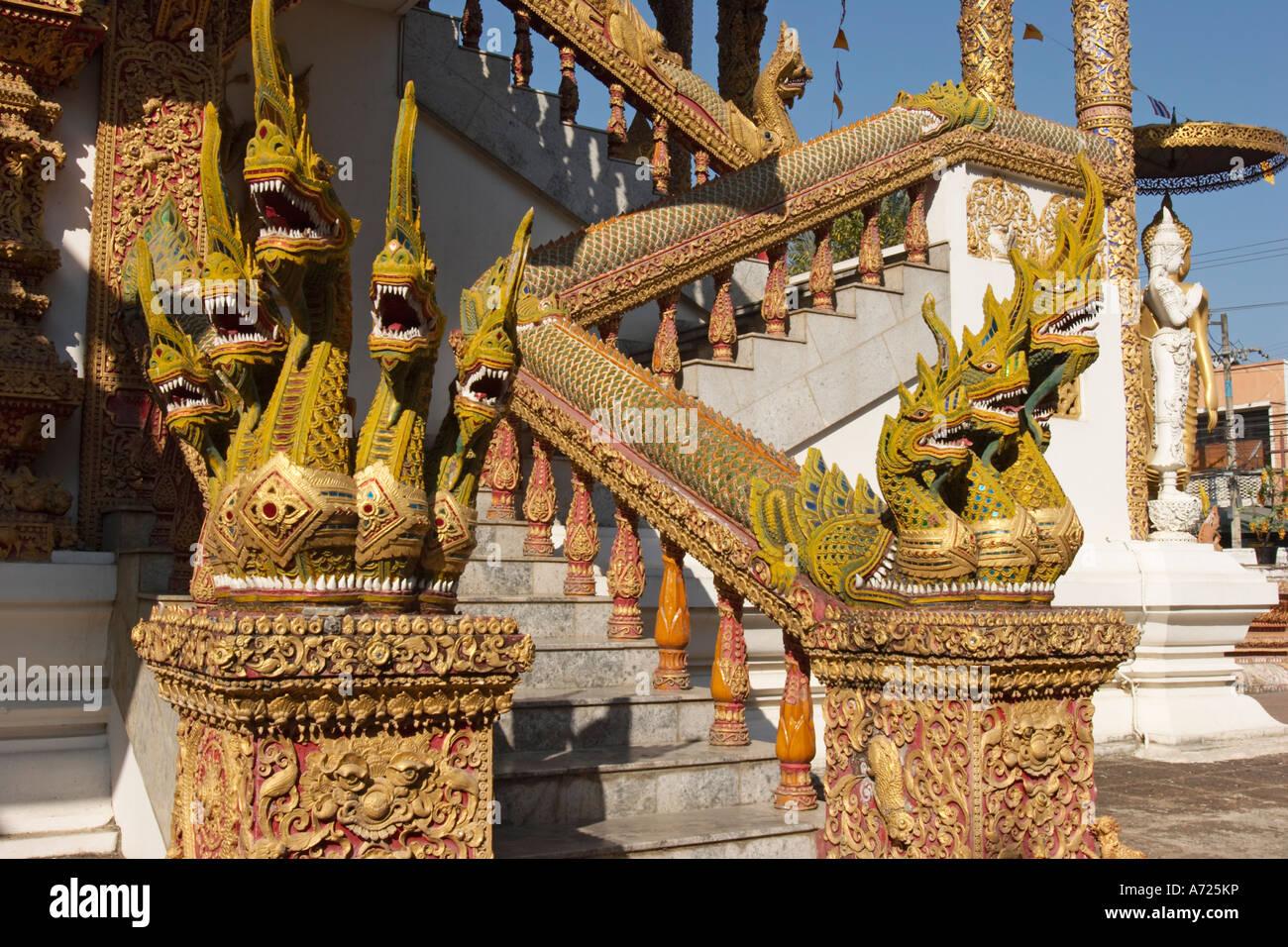 Naga staircase. Wat Bupparam, Chiang Mai, Thailand. Stock Photo
