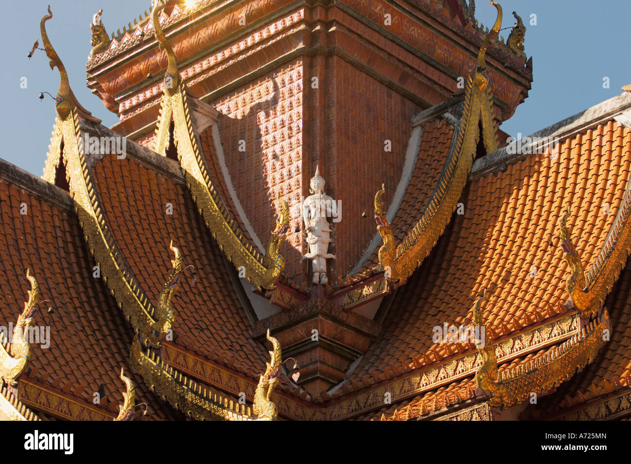 Part of the roof of Wat Bupparam. Chiang Mai, Thailand. Stock Photo