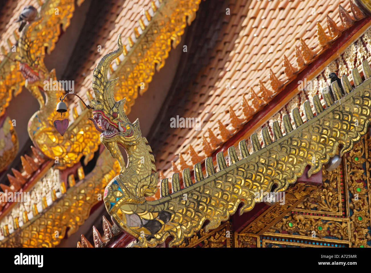 Fragment of the roof and finials. Wat Bupparam, Chiang Mai, Thailand. Stock Photo