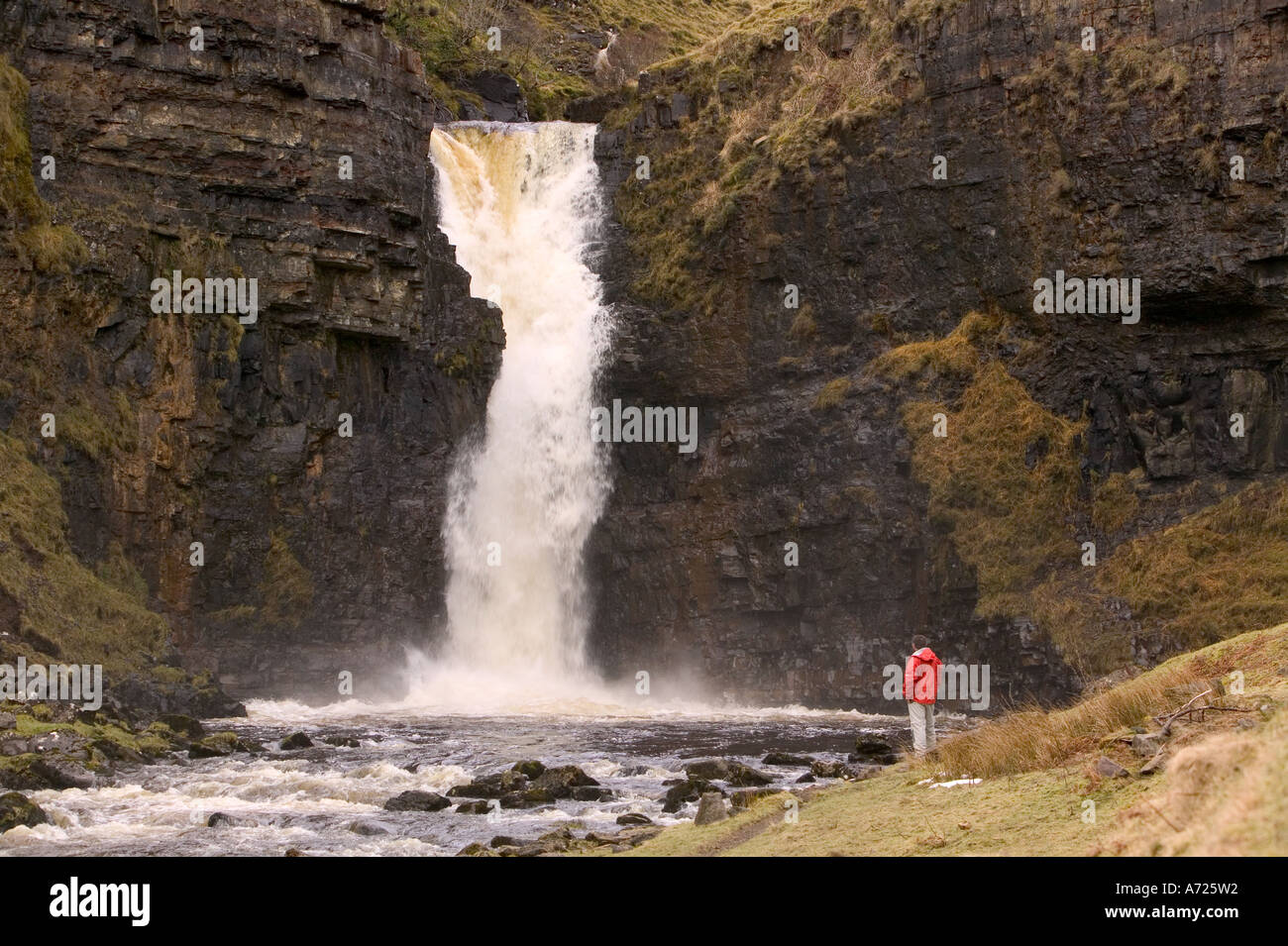 Inver tote waterfalls, Trotternish Peninsular, Isle of Skye, Scotland - Stock Image