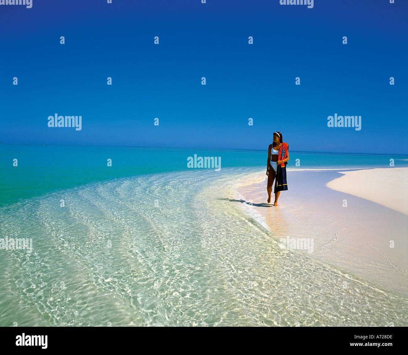 Girl On Tropical Island Beach At Ari Atoll Maldive Islands Indian