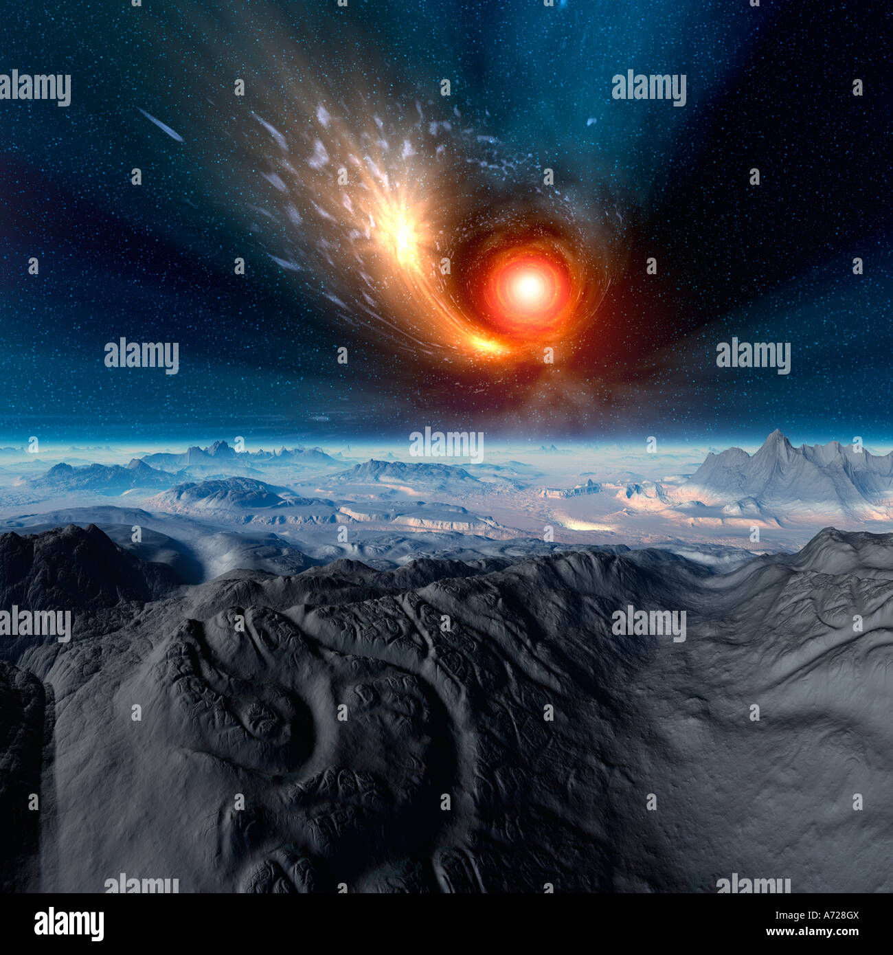 Computer illustration of a wormhole swallowing a star.  Alien, barren landscape in foreground. - Stock Image