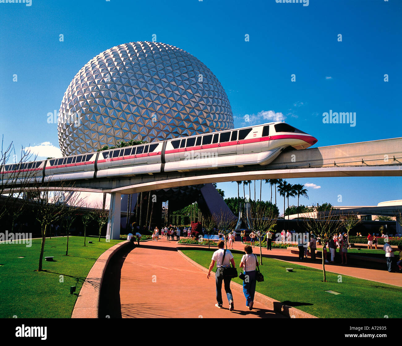 epcot orlando monorail center train spaceship earth disneyworld alamy ball