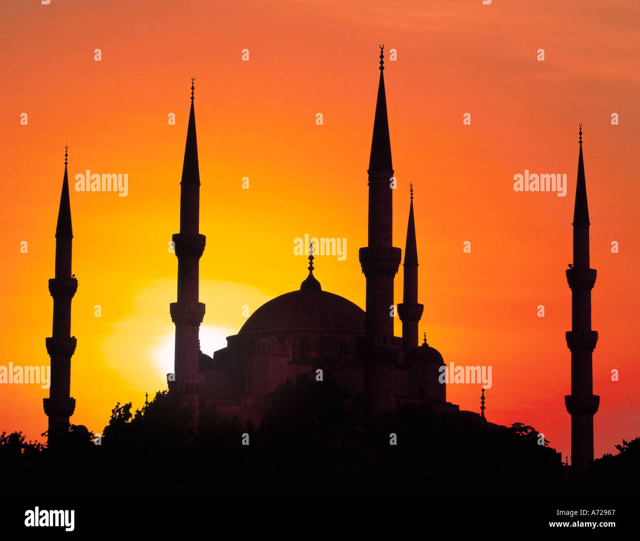 Sultan Ahmet Camii Mosque Blue Mosque in Istanbul Turkey - Stock Image