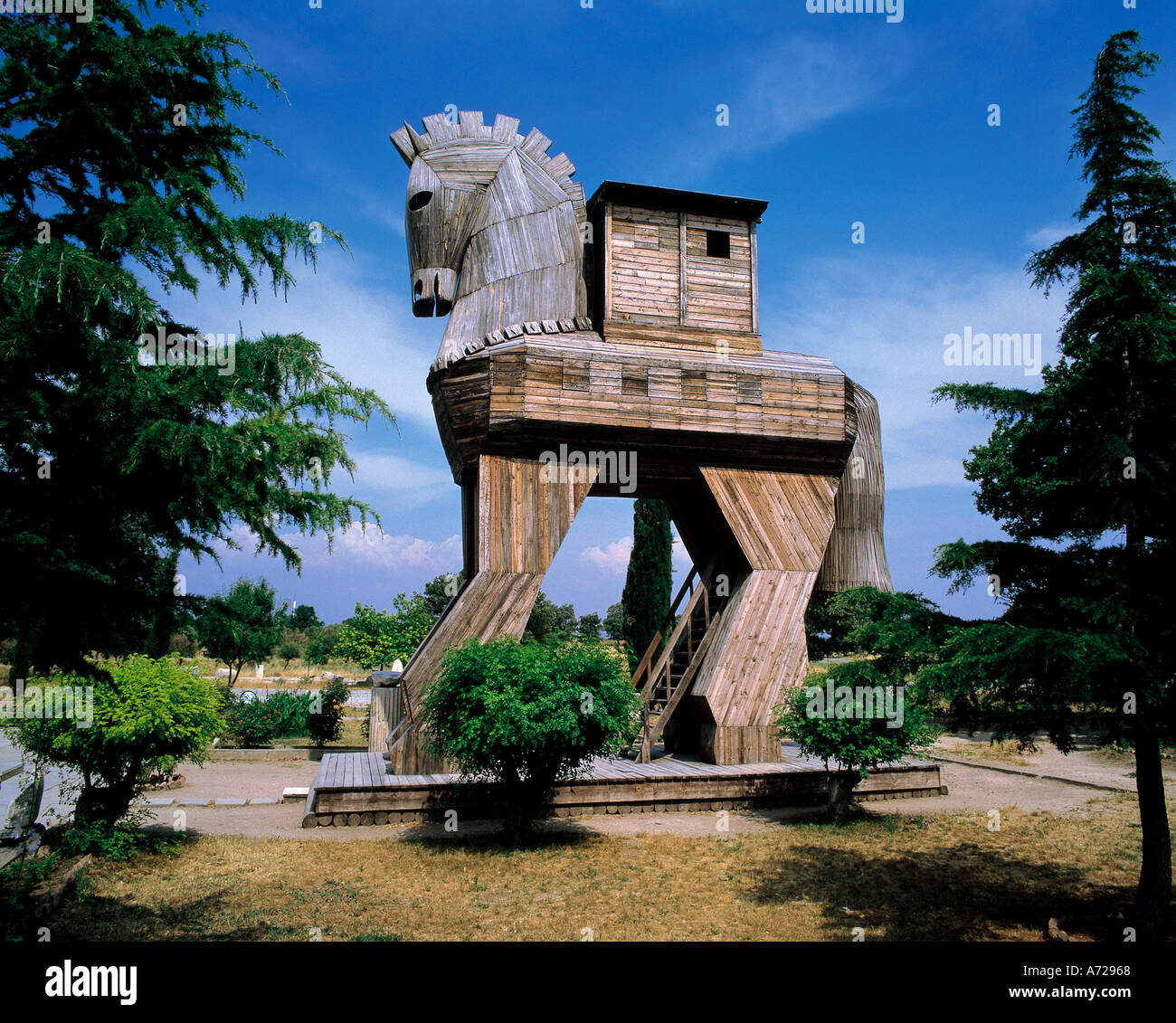 Trojan Horse from ancient mythology in Troy Turkey - Stock Image