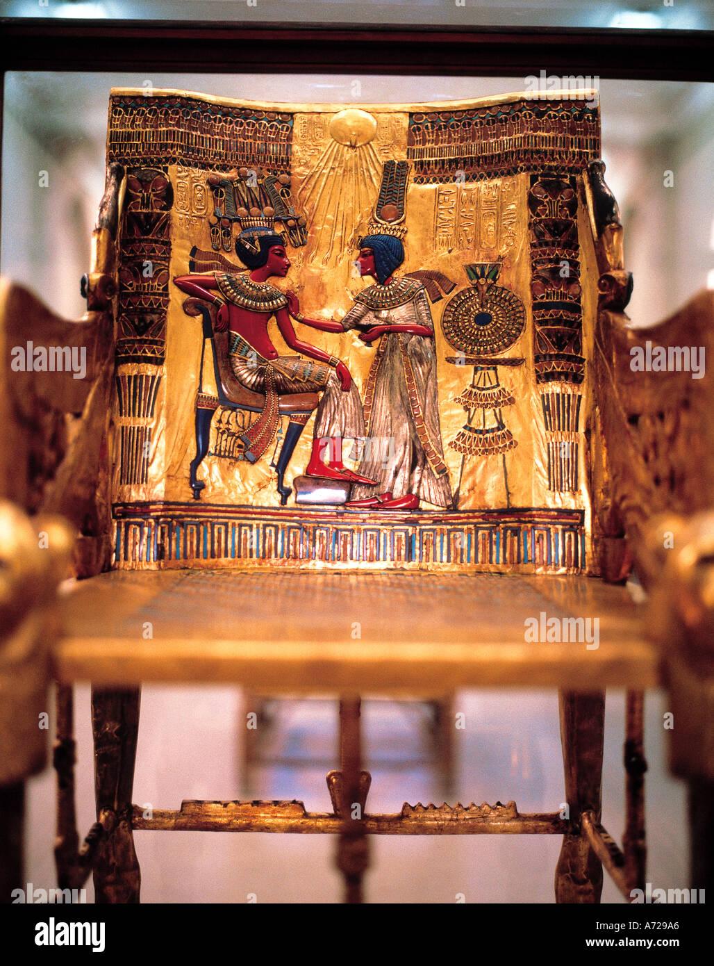 Tutankhamun Throne in the Cairo Museum Cairo Egypt - Stock Image