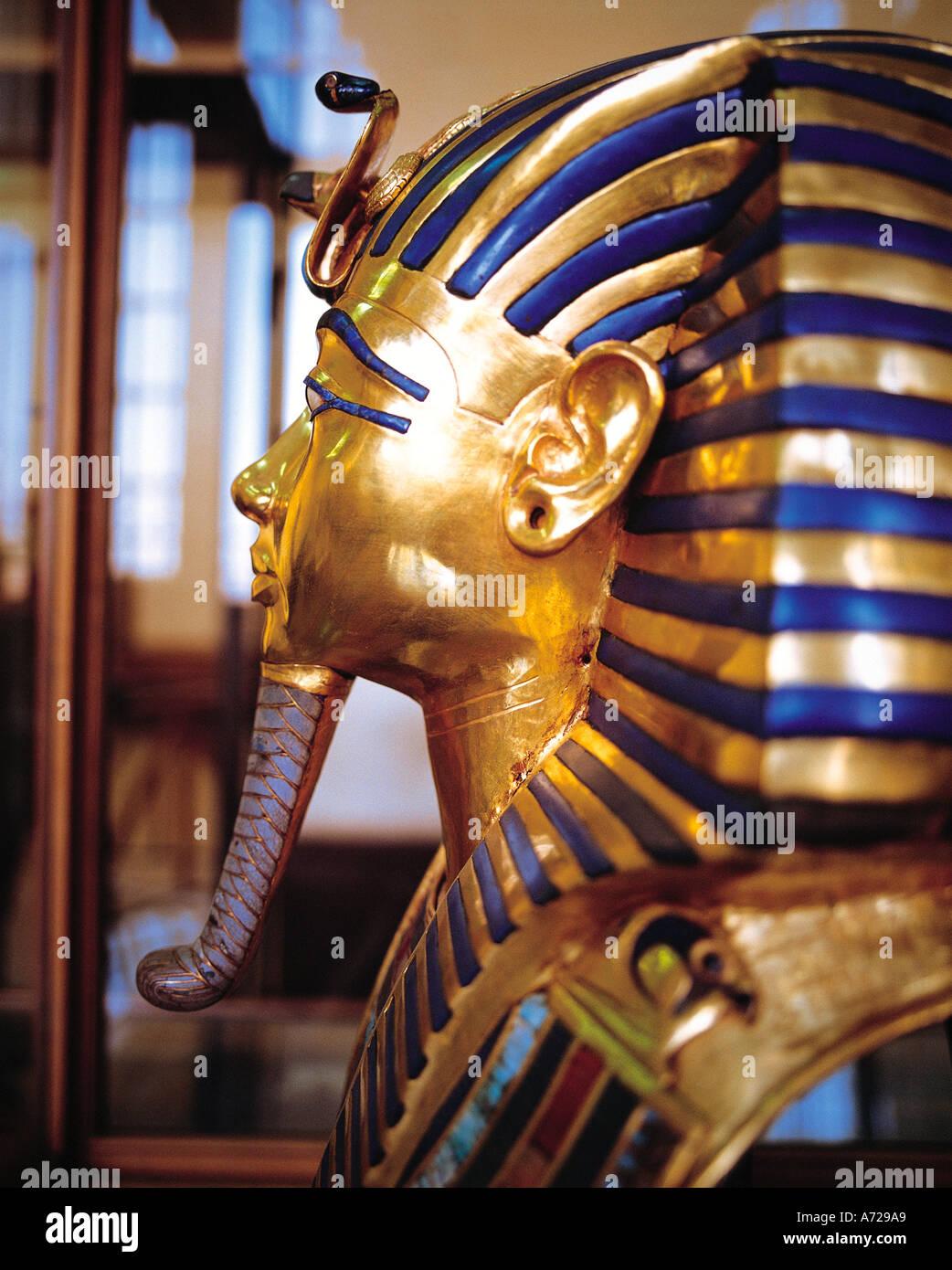 Tutankhamun Death Mask in the Cairo Museum Cairo Egypt - Stock Image
