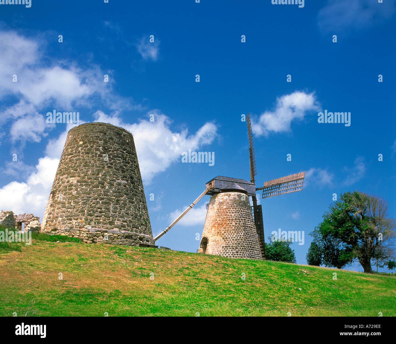 Betty Hope Windmill Antigua West Indies - Stock Image