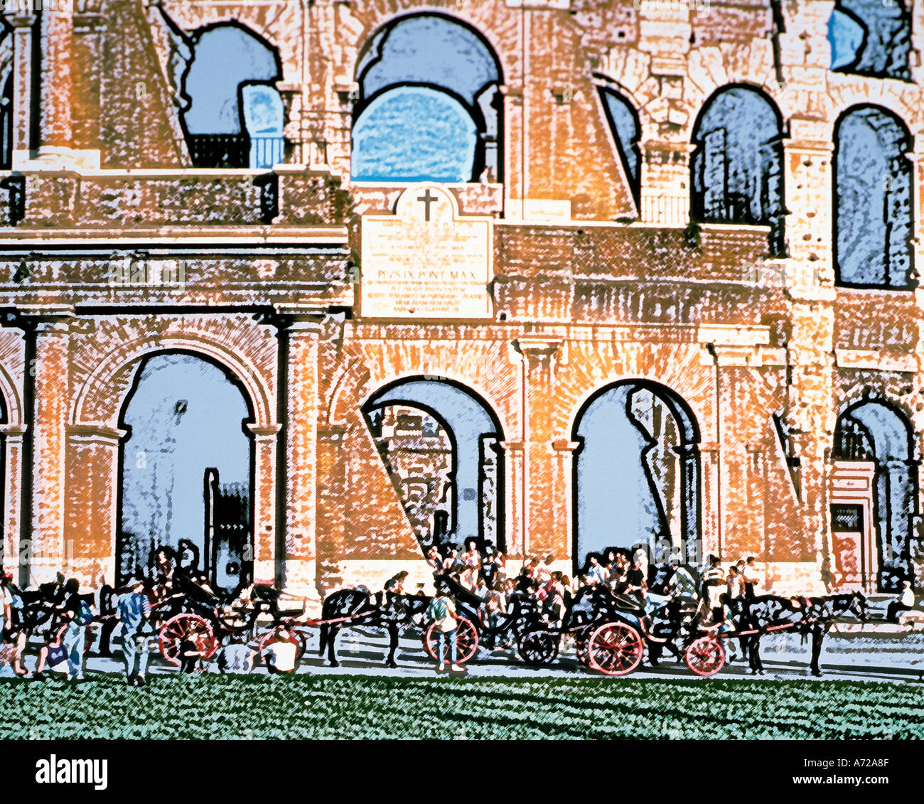 Abstract art of The Colosseum in Rome Italy - Stock Image