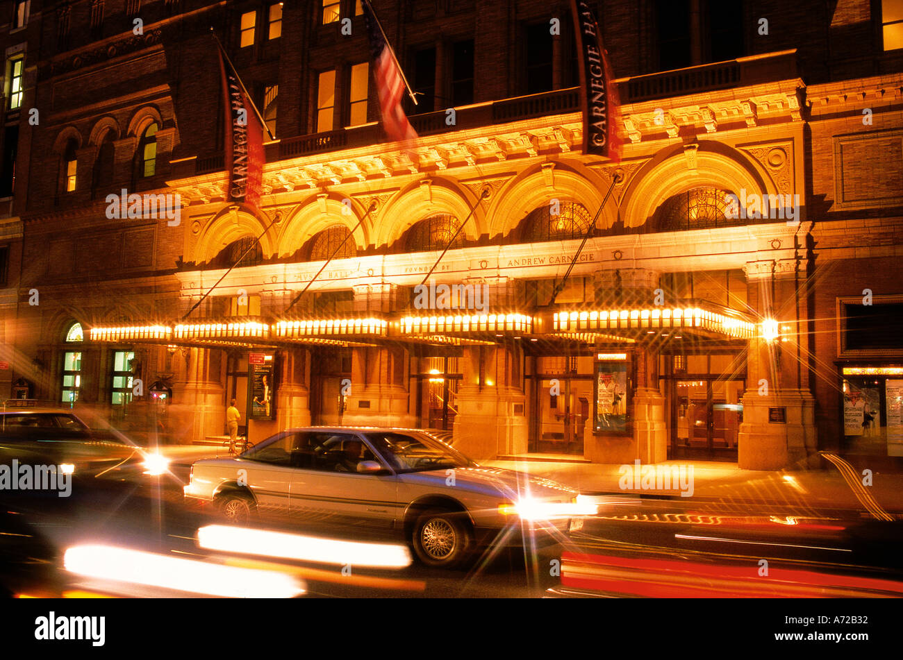 Carnegie Hall at night in New York City - Stock Image
