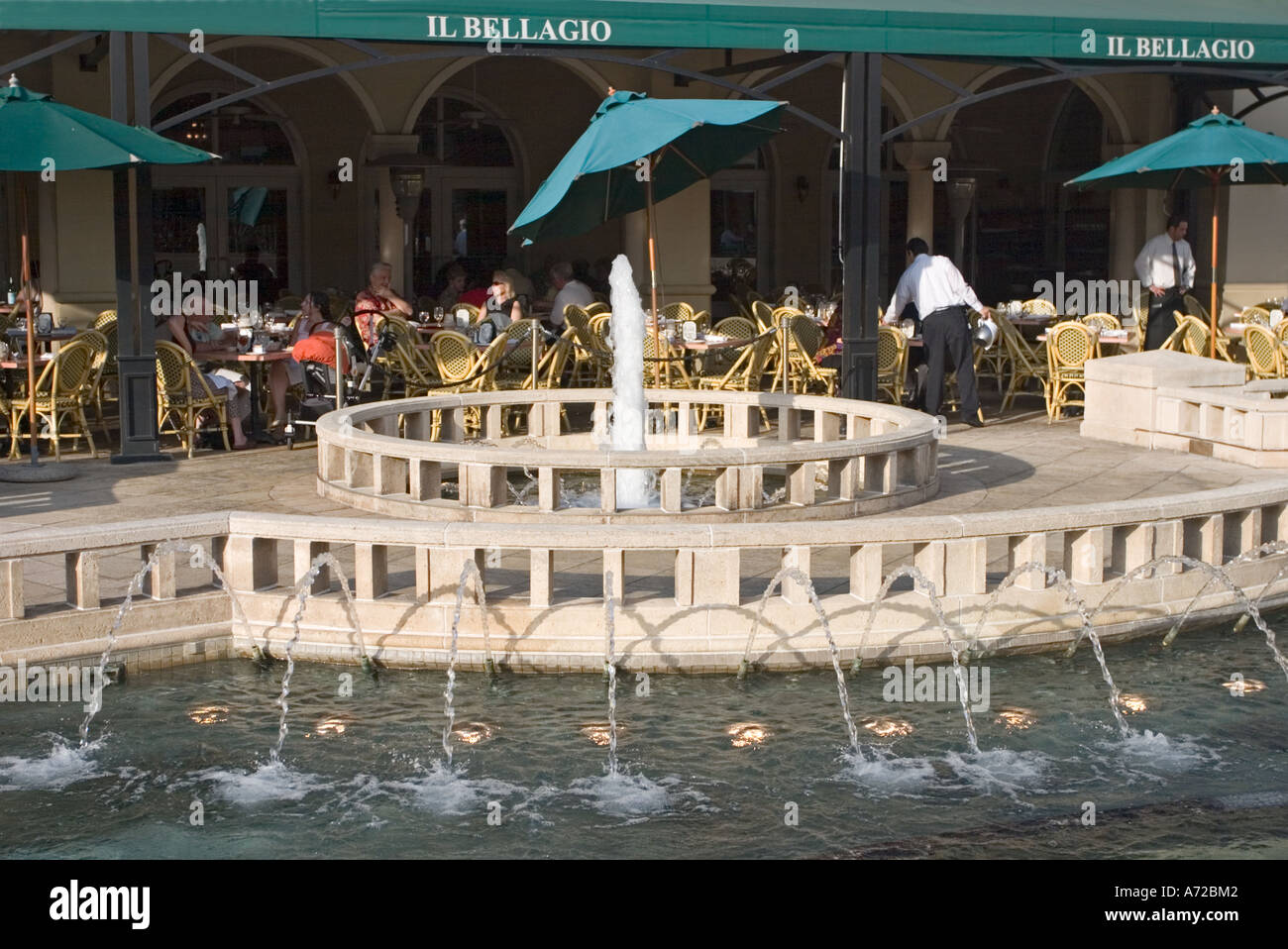 Closeup Of Fountain In Front Of Il Bellagio Restaurant City