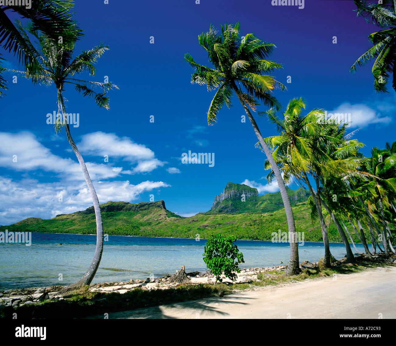 Mount Otemanu on Bora Bora Tahiti Society Islands French Polynesia South Pacific - Stock Image