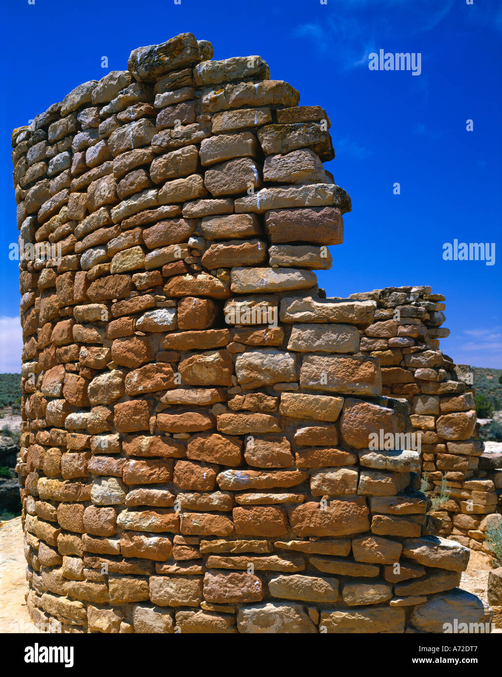 Prehistoric ruins a portion of an Anasazi wall Hovenweep National Monument - Stock Image