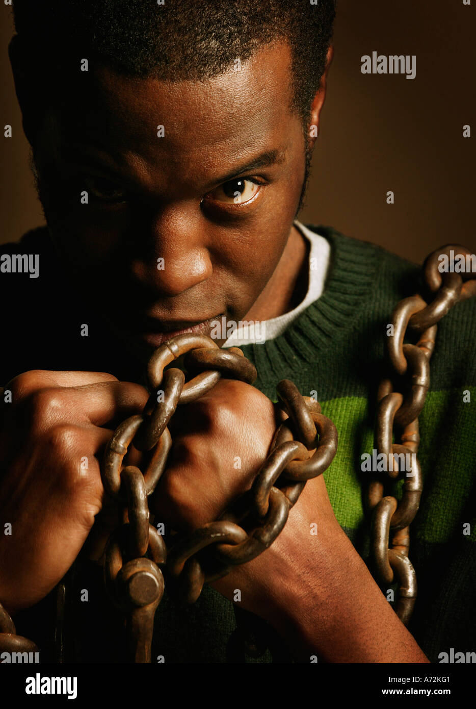 Man in Bondage - Stock Image