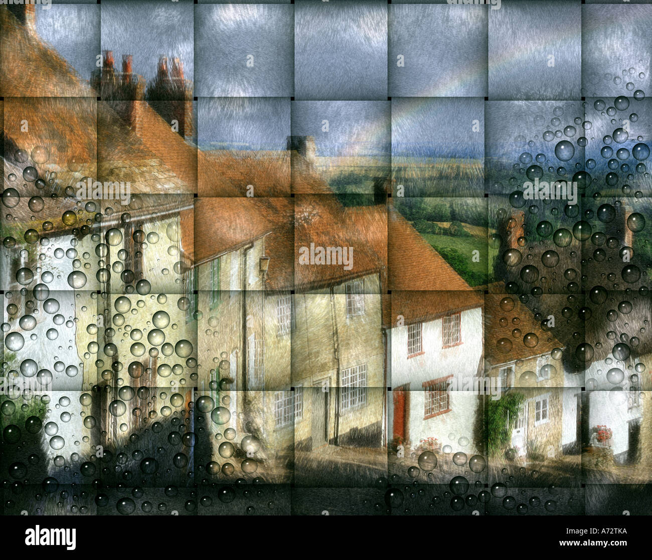 GB - DORSET:  Gold Hill at Shaftesbury (Digital Art) Stock Photo