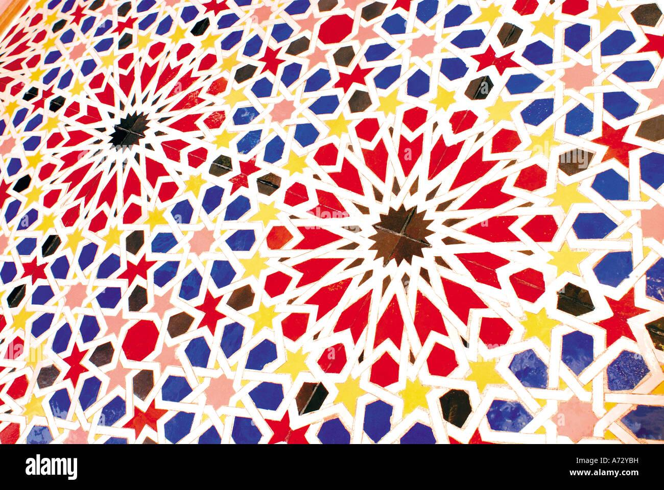 Neo arabic mosaic ornament, Casa da Cultura de arte Islamica, Center of islamic and mediterranean arts,Silves, Algarve, - Stock Image