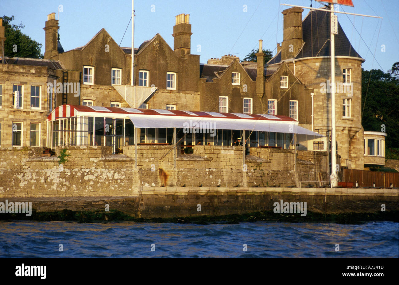 The Royal Yacht Squadron Worlds most exclusive Yacht Club Cowes Isle of Wight England - Stock Image