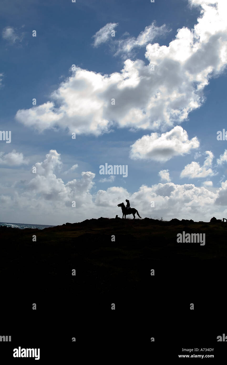 Silhouette Of A Cowboy Easter Island Chile