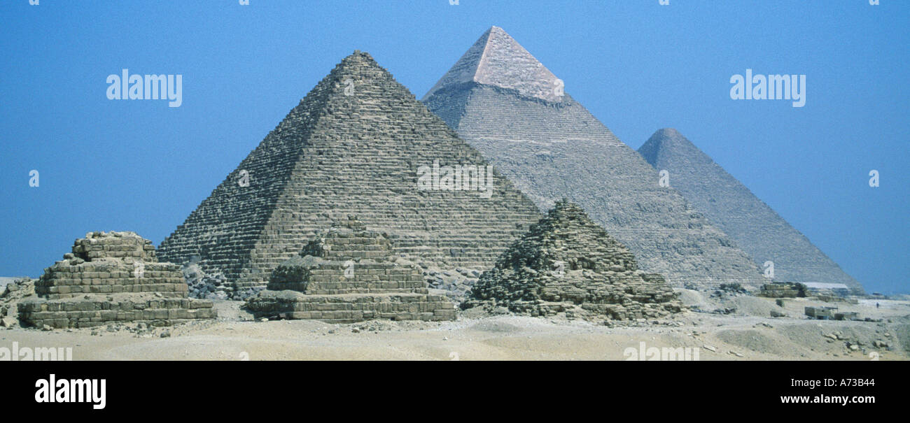 Egypt Cairo Giza Three Pyramids - Stock Image