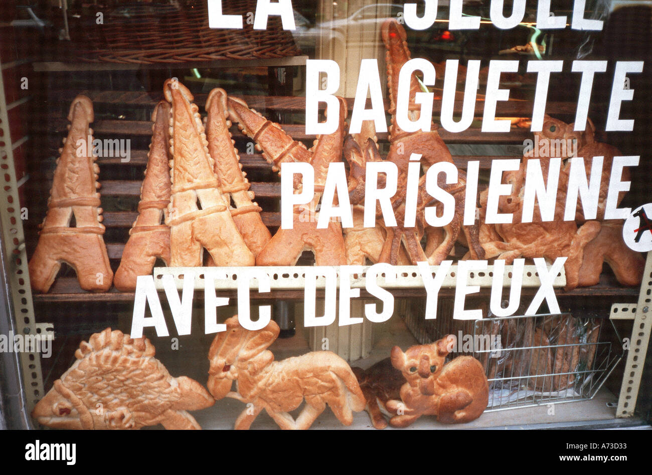 "Paris France, ""French Bakery"" ""Shop Window"" With Specially Made Bread in Window ""Eiffel Tower"" Shape Food Stock Photo"