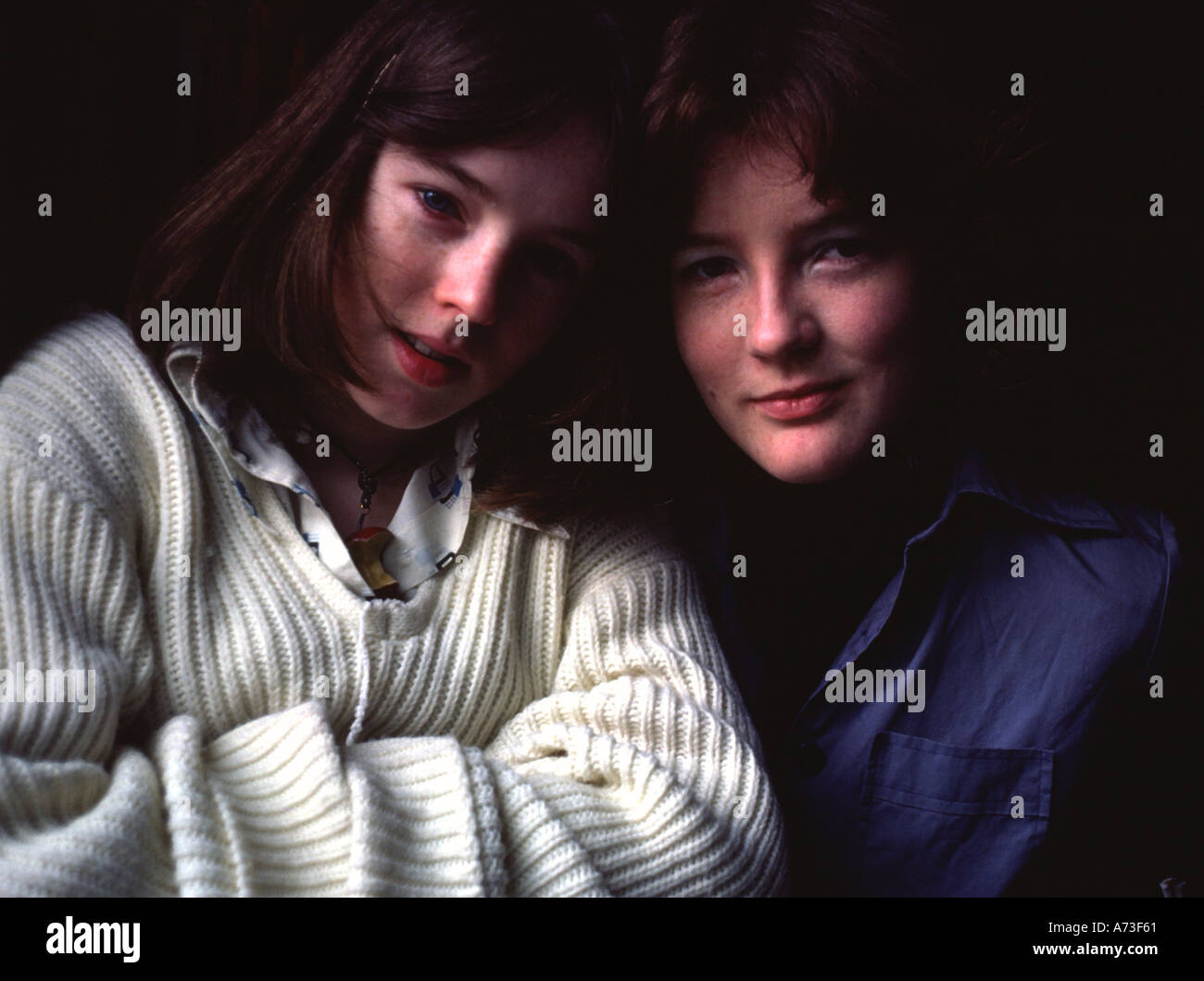 Two sisters 1970s - Stock Image