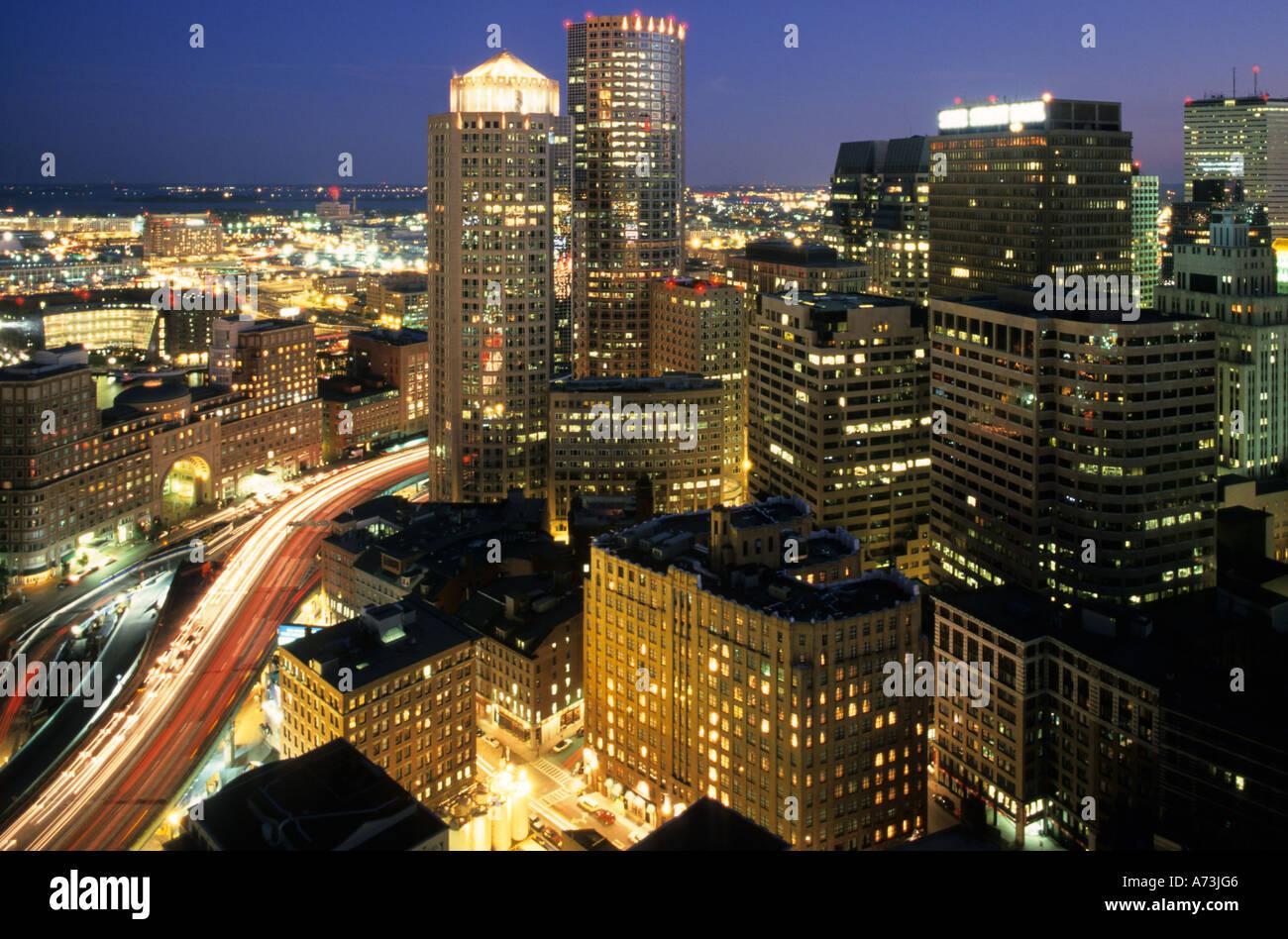 USA Boston Massachussetts night view - Stock Image